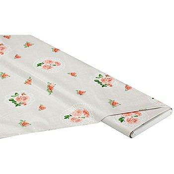 Abwaschbare Tischwäsche - Wachstuch 'Rosen & Spitze', beigegrundig