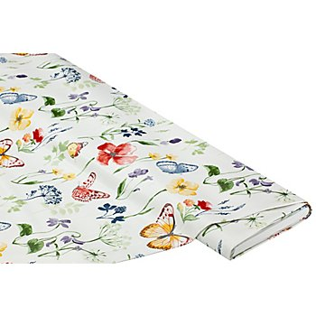 Abwaschbare Tischwäsche - Wachstuch 'Blumenwiese', naturgrundig