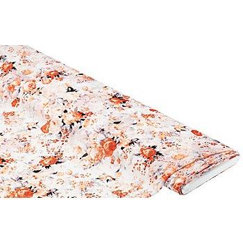 Tissu chiffon 'fleurs', blanc/rose