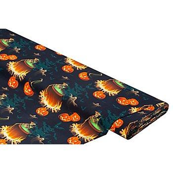 Tissu coton à impression numérique 'citrouilles', noir multicolore