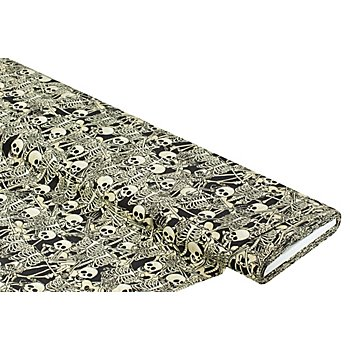 Baumwollstoff-Digitaldruck 'Skelette Ria', Serie Ria, schwarz/beige