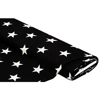 Crêpe 'Sterne', schwarz/weiß