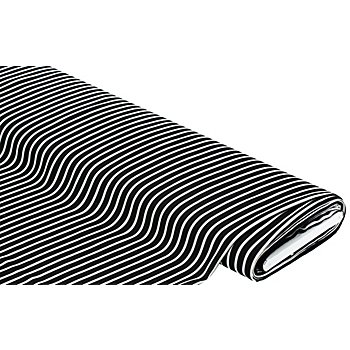 Tissu crêpe 'rayures', noir/blanc