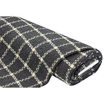Tissu aspect bouclettes scintillant 'carreaux', gris multicolore