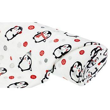 Tissu polaire 'pingouin', blanc/rouge