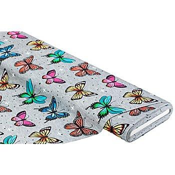 Albstoffe Bio-Baumwolljersey 'Wanderlust Butterfly' by Hamburger Liebe, grau-color