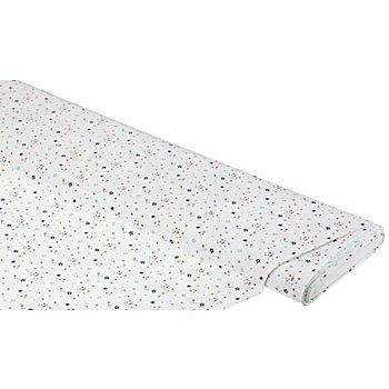 Tissu coton 'étoiles & pois', blanc/multicolore