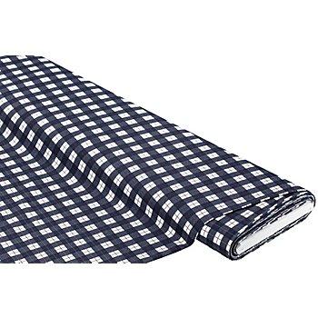 Tissu jersey en coton 'carreaux', bleu marine/blanc délavé