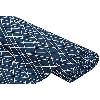 Sweatstoff 'Linien', nachtblau-melange/weiß