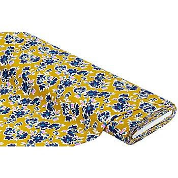 Tissu jersey en coton 'fleurs' avec de l'élasthanne, ocre multicolore