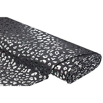Tissu jersey en coton 'léopard' avec de l'élasthanne, gris foncé/argent