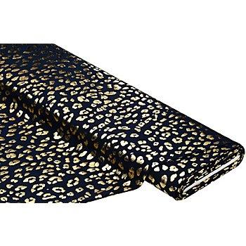 Tissu jersey en coton 'motif de léopard brillant' avec de l'élasthanne, bleu marine/or