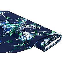 Tissu polyester 'fleurs', bleu marine multicolore