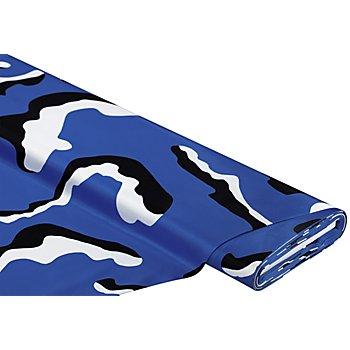 Satin-Druck 'Camouflage', blau/weiß/schwarz