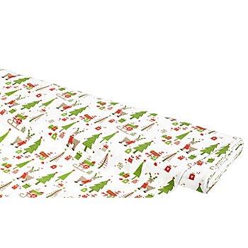 Tissu coton 'rennes & cadeaux', vert multicolore