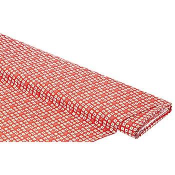 Tissu coton 'motifs de Noël/carreaux', rouge multicolore