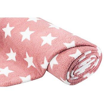 Tissu polaire 'étoiles - aspect fourrure d'agneau', mauve