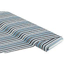 Elastik-Jeansstoff 'Streifen', blau/beige