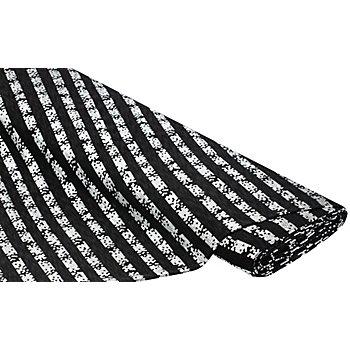 Feinstrick-Jersey 'Paillettendruck', schwarz/silber
