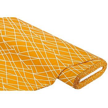 Sweatstoff 'Linien', ocker/weiß