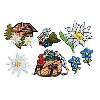 Motifs 'champêtres' à coudre et à repasser, 2,5 - 6 cm, 7 pcs.