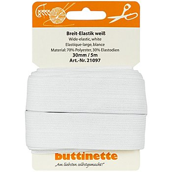 buttinette Gummiband 'Breit-Elastik', weiß, Breite: 30 mm, Länge: 5 m
