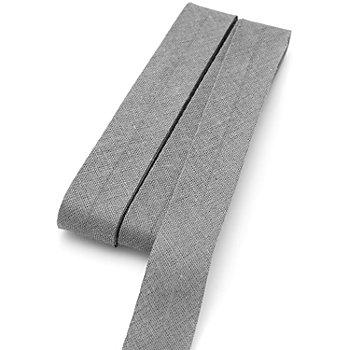 buttinette Baumwoll-Schrägband, grau, Breite: 2 cm, Länge: 5 m