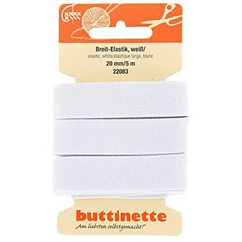 buttinette Gummiband 'Breit-Elastik', weiß, Breite: 20 mm, Länge: 5 m