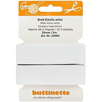 buttinette Gummiband 'Breit-Elastik', weiß, Breite: 25 mm, Länge: 5 m