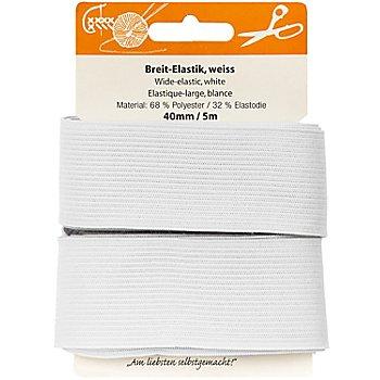 buttinette Gummiband 'Breit-Elastik', weiß, Breite: 40 mm, Länge: 5 m