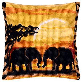 Devant de coussin à broder 'éléphants'
