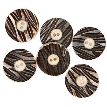 buttinette Echthorn-Knöpfe, Größe: 23 mm Ø, Inhalt: 6 Stück
