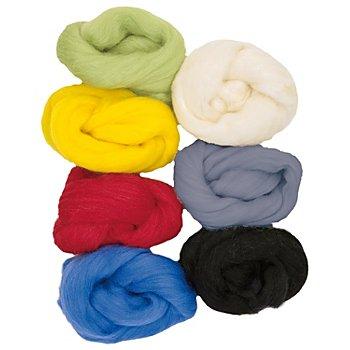 Farbige Naturwolle 'Grundfarben', 100g-Pack
