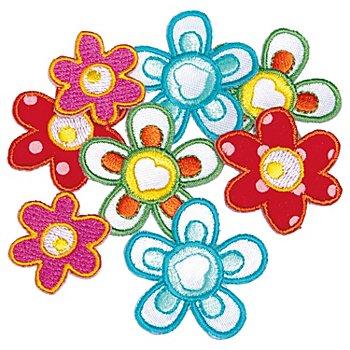 buttinette Applikationen 'Blumen', Grösse: 2,5 - 3,5 cm, Inhalt: 8 Stück