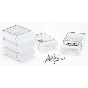 buttinette Boîtes de rangement, dim. : 4,5 x 7,5 x 2,5 cm, contenu : 5 pièces