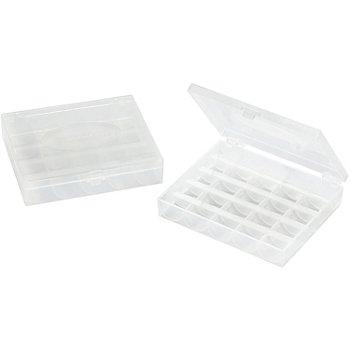buttinette Spulenboxen, Größe: 10,5 x 12 x 2,5 cm, Inhalt: 2 Stück für jeweils 25 Unterfadenspulen