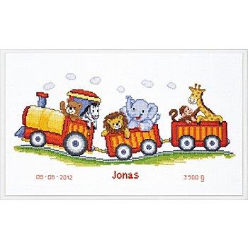 Kreuzstichbild 'Bahn mit Zootieren', 38 x 18 cm