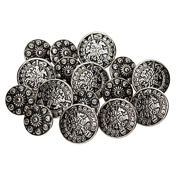 buttinette Trachtenknöpfe aus Metall, Grösse: 17 – 22 mm Ø , Inhalt: 20 Stück