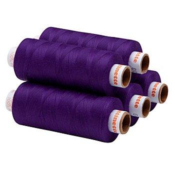 buttinette Lot de 5 bobines de fil à coudre universel, violet, grosseur : 100