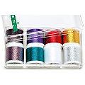 "MADEIRA Set de fils à broder métallisés ""multicolores"", contenu : 8 bobines"