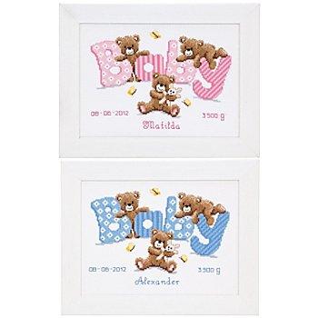 Kreuzstichbild 'Baby Bär', 23 x 17 cm