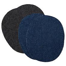 buttinette Lot de 4 renforts en tissu jeans, bleu foncé/noir, 12,5 x 10 cm, contenu : 2 paires
