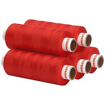 buttinette Lot de 5 bobines de fil à coudre universel, rouge clair, grosseur : 100