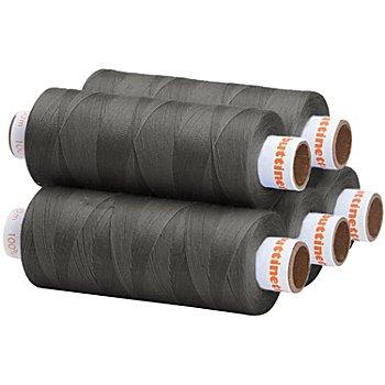 buttinette Lot de 5 bobines de fil à coudre universel, gris foncé, grosseur : 100