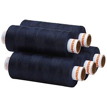 buttinette Universal-Nähgarn, Stärke: 100, 5er-Pack, nachtblau
