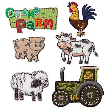 Prym Applikationen 'On the Farm', Grösse: 2,5 - 4,5 cm, Inhalt: 6 Stück