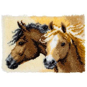 Knüpfteppich 'Pferde' 50 x 40 cm