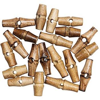 Boutons bûchette en bois, longueur : 30 mm et 40 mm, contenu : 16 pièces