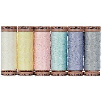 Mettler Silk Finish Cotton Maschinen- & Handquiltgarn, Stärke: 40, Inhalt: 6 Spulen, pastell
