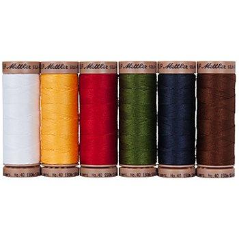 Mettler Silk Finish Cotton Set de fil à coudre 'Noël', grosseur : 40, contenu : 6 bobines